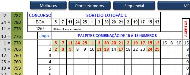 Excel - Planilha megasena lotofácil