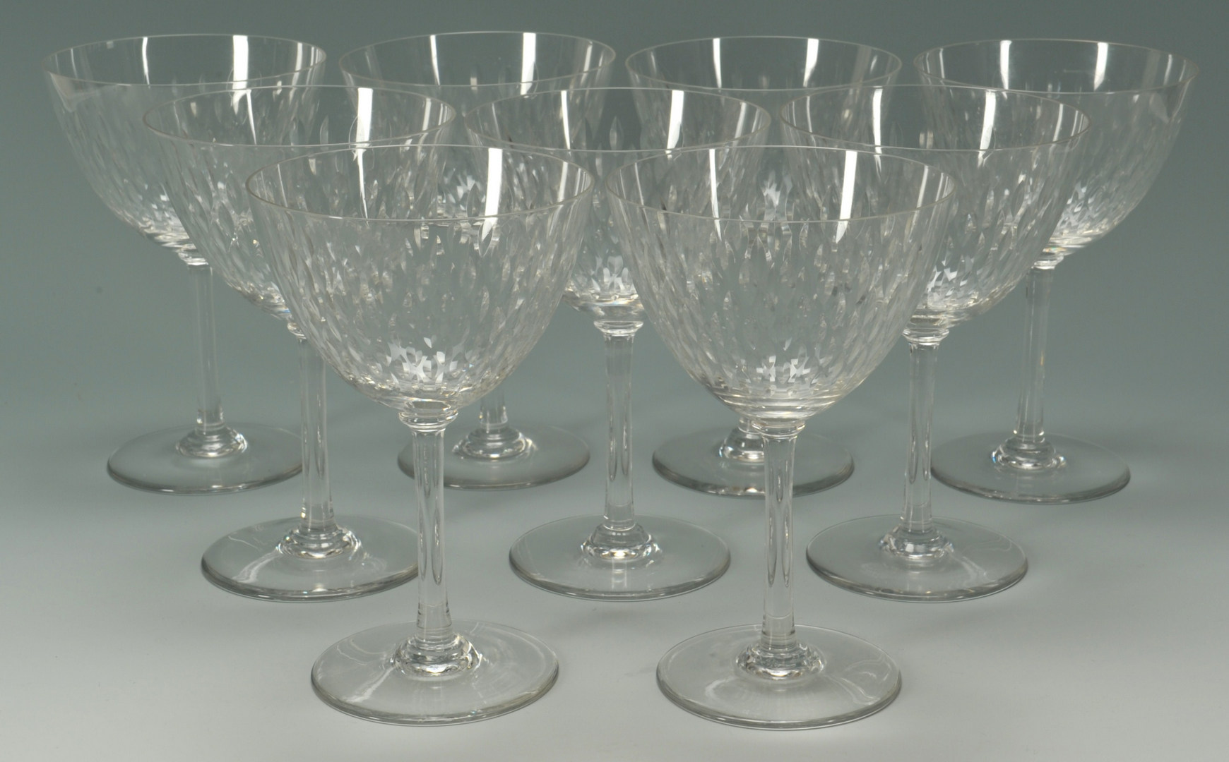 Lot 265: Baccarat Crystal water goblets, Paris pattern, 9 t