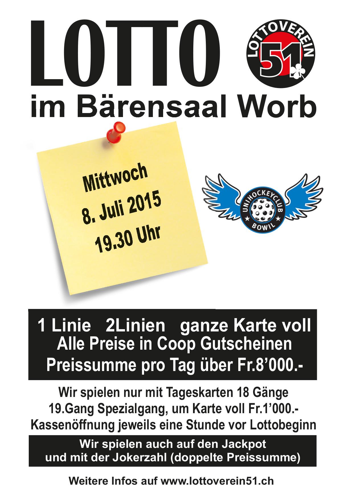 Lotto im Bärensaal Worb (Mi 8. Juli 2015) – UHC Bowil