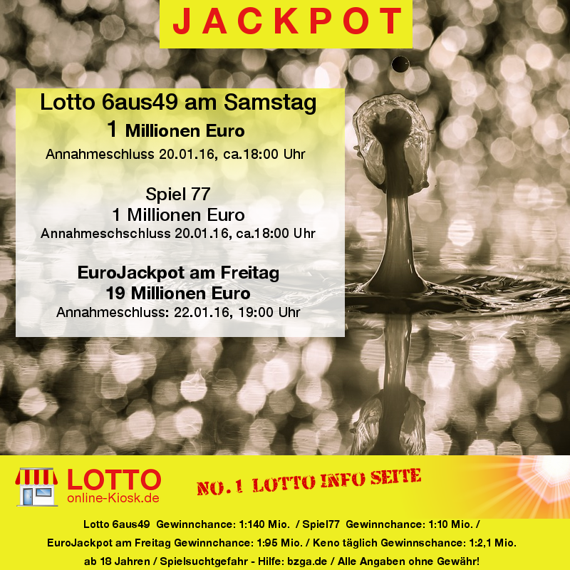Lottozahlen am Mittwoch 20.01.2016 - Jackpot - Lottozahlen