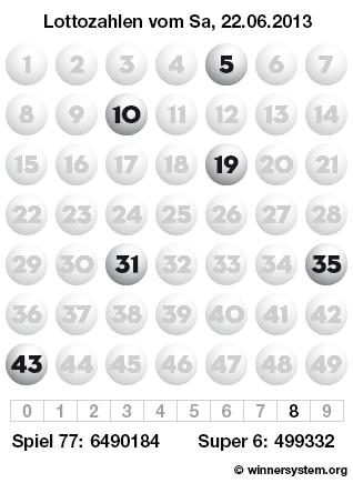 Lottozahlen Samstag, 22.06.2013 (Lotto Archiv)