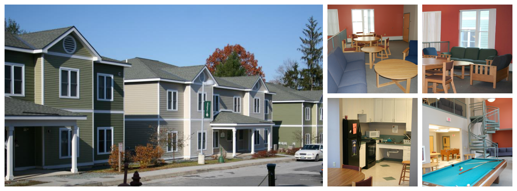 Houses Collage kitchen lounge and exterior
