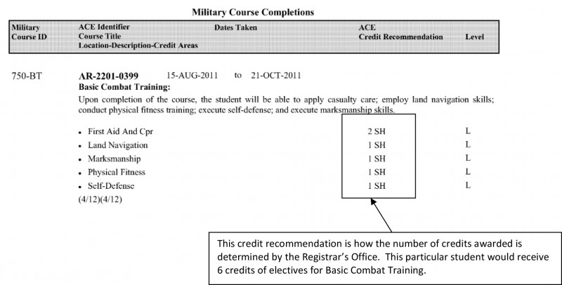 below is a sample representation of how basic combat training is represented on an official transcript