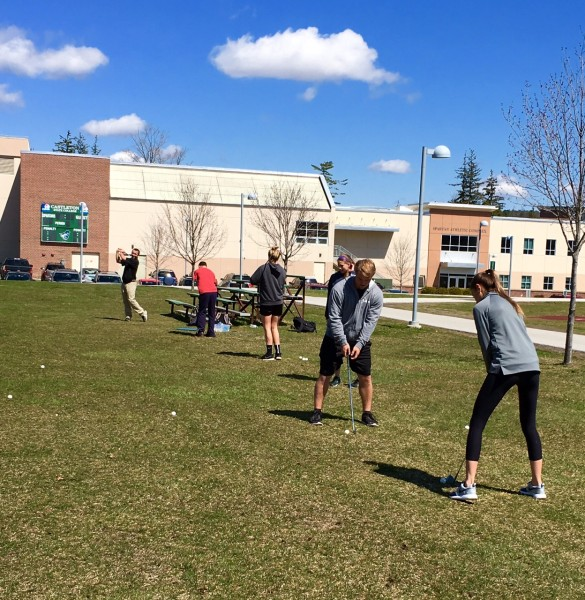 Student enjoy a physical education class outdoors.