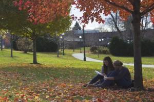 Students enjoying the fall air.