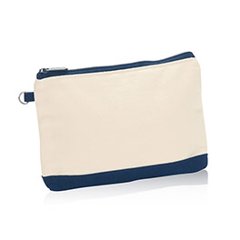 Mini Zipper Pouch - Natural (w/ Navy)