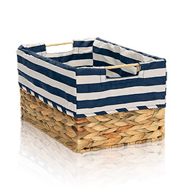 Your Way Rectangle Basket Liner - Navy Rugby Stripe
