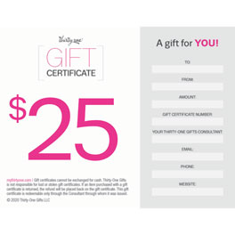 25 Dollar Gifts gift certificates - thirty-one gifts
