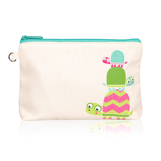 Mini Zipper Pouch - Natural w/ Topsy Turtles