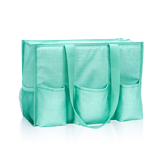 Zip-Top Organizing Utility Tote - Turquoise Crosshatch