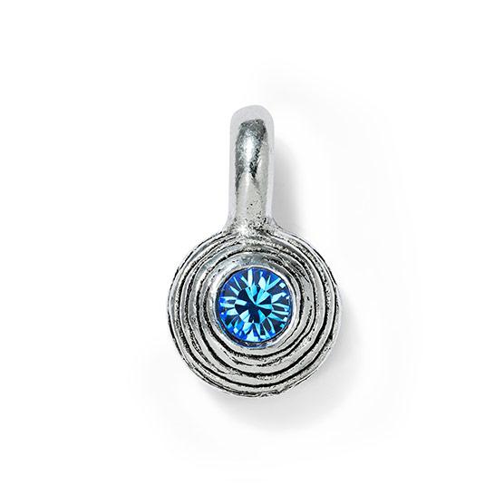 Birthstone Dot Charm - Pewter September- Sapphire