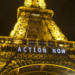 "In this Sunday, Dec. 6, 2015, photo, the Eiffel Tower lights up with the slogan""Action Now""referring to the COP21, United Nations Climate Change Conference in Paris. The carbon footprint for the COP21 conference runs to thousands of tons, for the some 40,000 people, including heads of state, negotiators, activists and journalists, in Paris to hash out a ground-breaking international agreement to put a brake on global warming. (AP Photo/Michel Euler)"