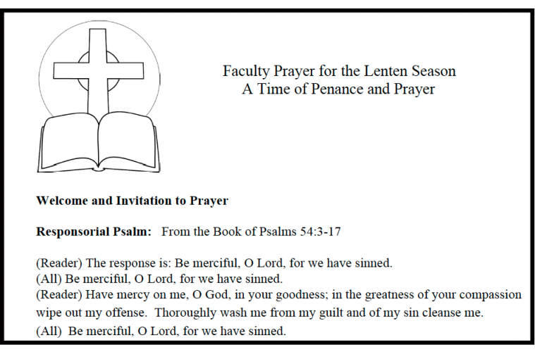 Faculty Prayers A Time Of Penance And Prayer Catholic Teacher