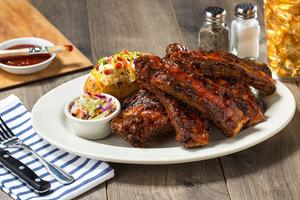 Beef rib racks prepped