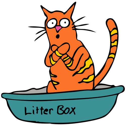 Cartoon Cat Using The Litter Box