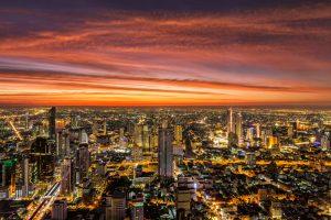 Sunset from Mahanakorn Skywalk