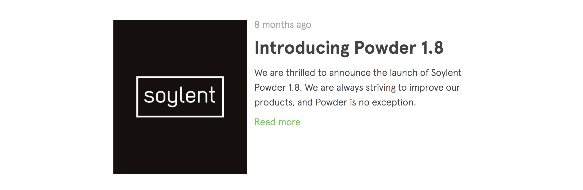Soylent's release notes look more like something from a developer blog than  a food blog.