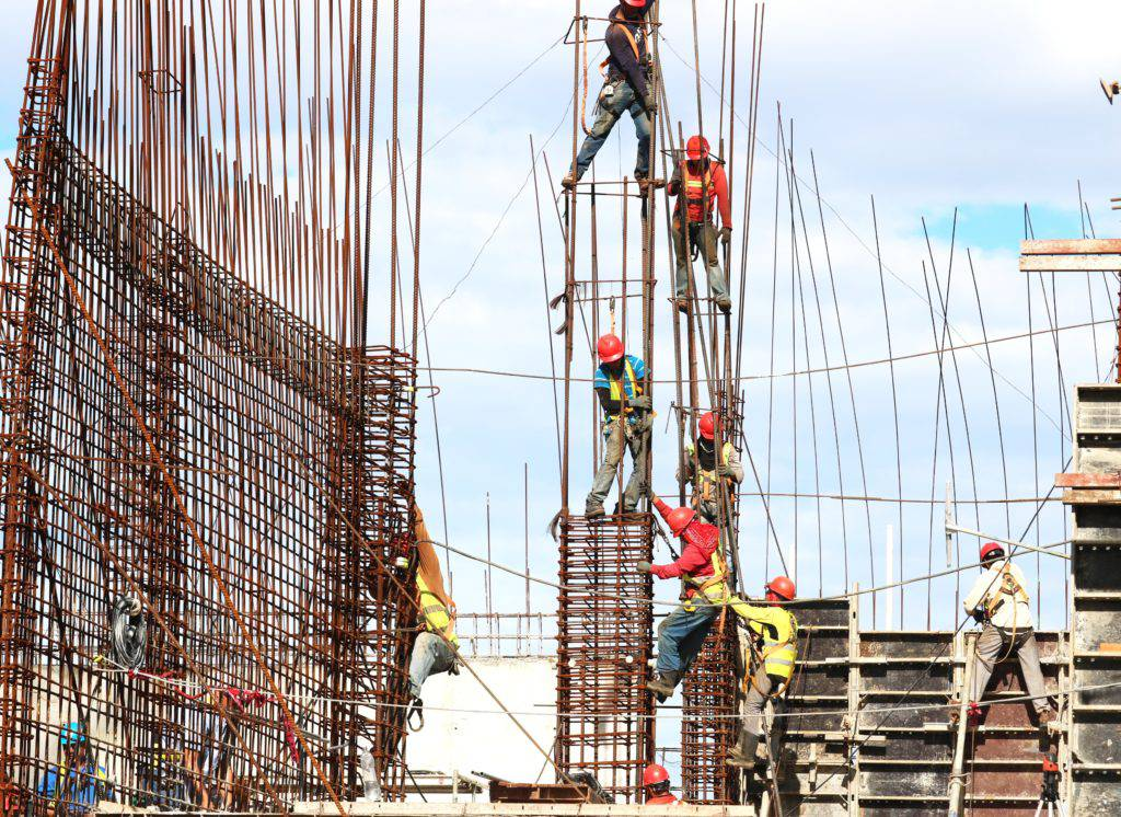 men working on a construction site