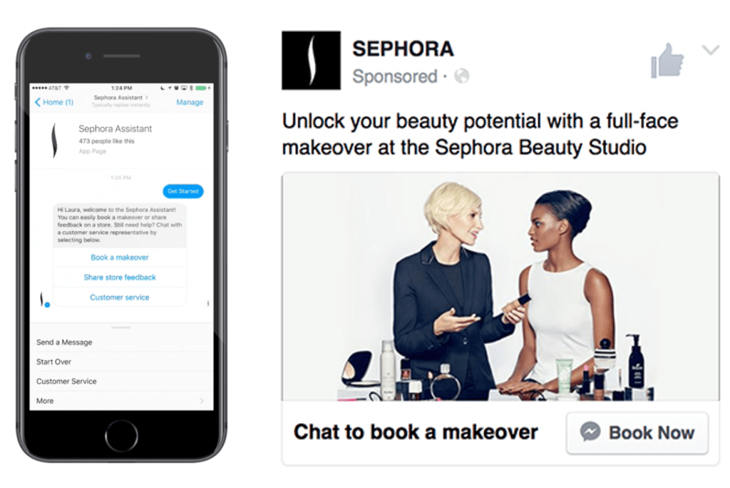 sephora assistant facebook beauty appointment booking