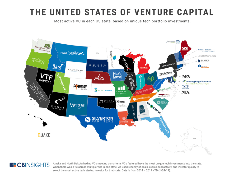 The United States of Venture Capital: a map of the most active VC in each US state, based on unique tech portfolio investments.