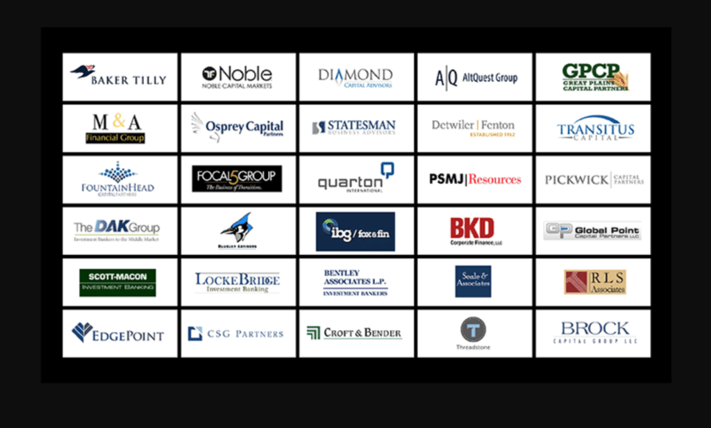 Graphic showing thirty boutique investment banks using Axial
