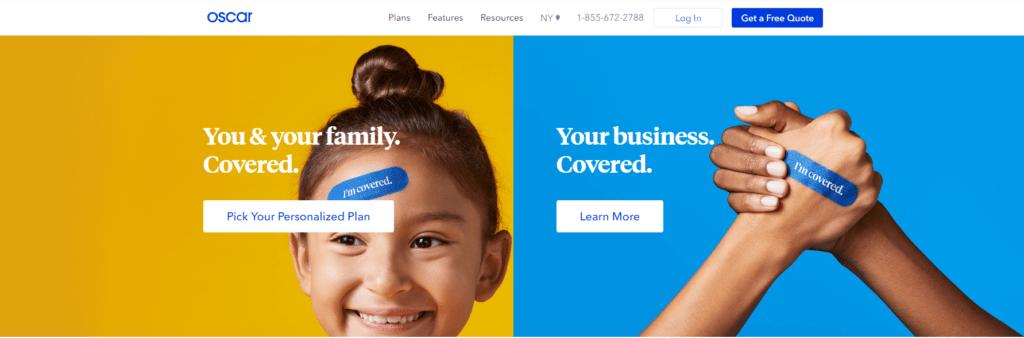 oscar health website screenshot