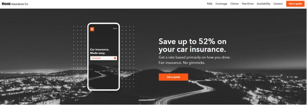 root insurance website screenshot