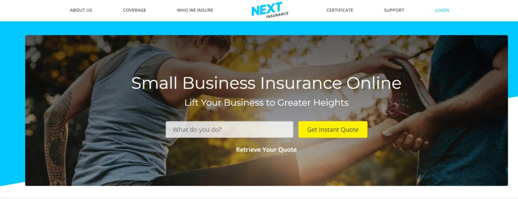 Next Insurance website screenshot
