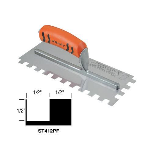 1/2 in Kraft Tool Square Notch Trowel w/ ProForm Handle