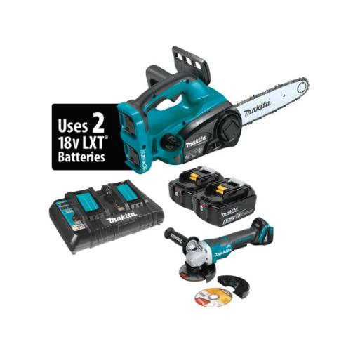 12 in Makita 18V X2 (36V) LXT Lithium-Ion Cordless Chain Saw Kit & Brushless Angle Grinder - XCU02PTX1