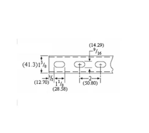 1 5/8 in x 3 1/4 in x 20 ft x 12 Gauge Pre-Galvanized Oval Slot Strut Channel
