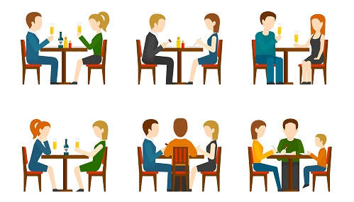 Caricature of people sitting at restaurant tables