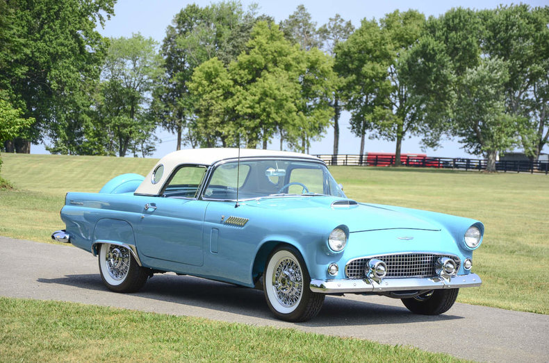 the thunderbird pictured features wire wheels and bfgoodrich whitewall radial tires which really pop with the turquoise and white paint