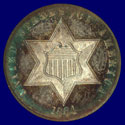 1864 Silver Three-Cent piece (Obverse)