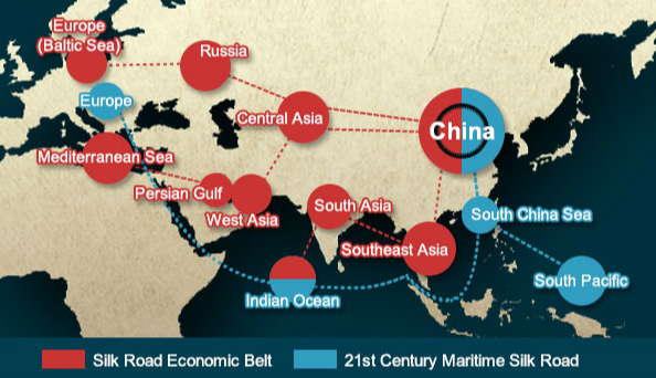 Belt and road initiative map xinhua