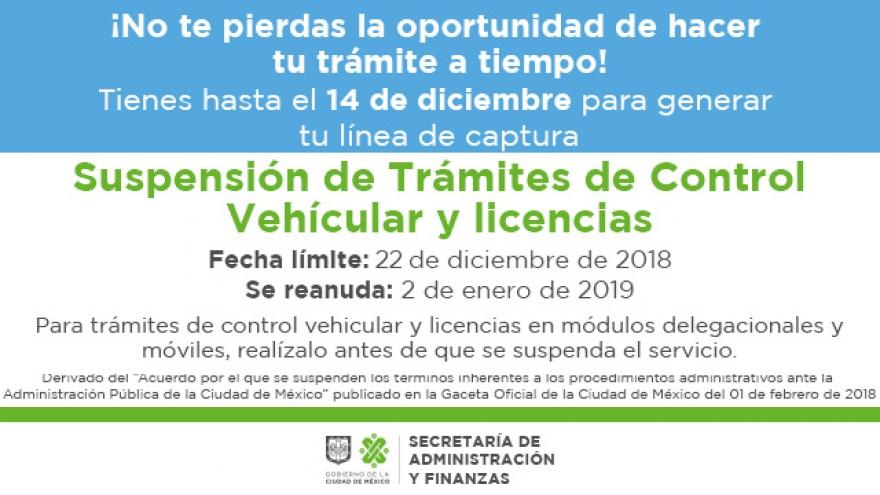 Suspensión de Trámites de Control Vehícular y licencias