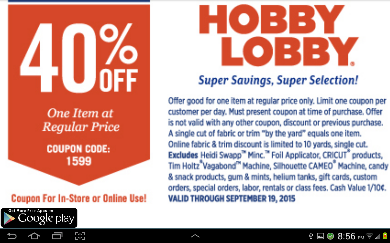 Coupons For Hobby Lobby For Android Apk Download