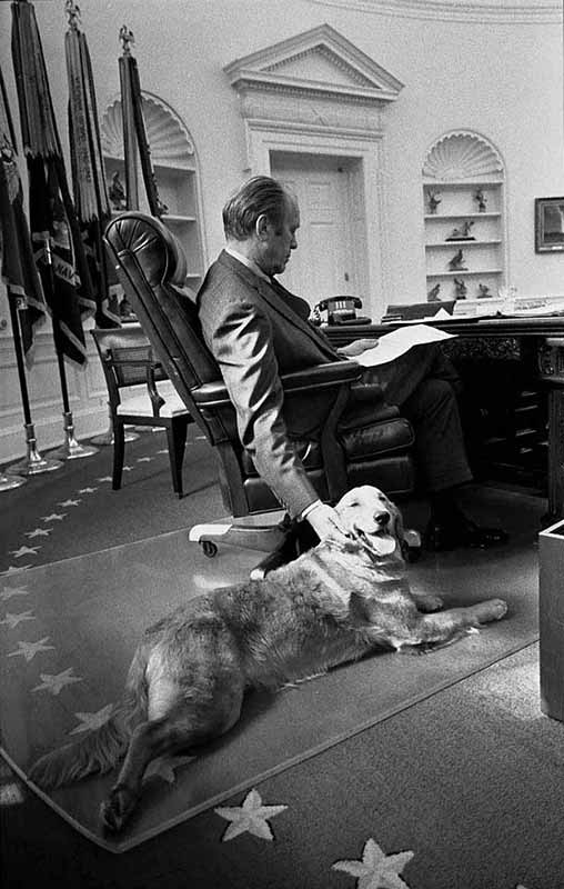 Gerald Ford with Golden Retriever