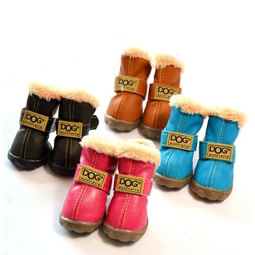These colorful boots have faux-fur lining and rugged anti-slip sole. The  wide opening makes it easy to get them on your dog. 6e283a5eb