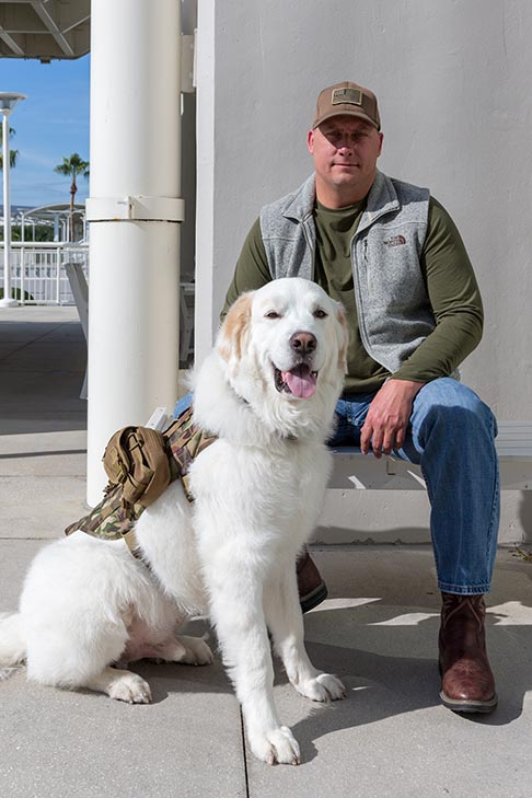 """Service Dog: """"Gunner,"""" a Great Pyrenees owned by D. Hamilton Kinard of Richmond Hill, Georgia."""