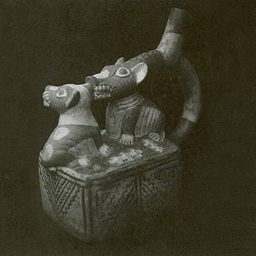 Moche vessel featuring two hairless dogs.