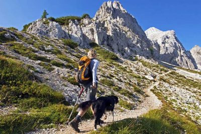 Woman hiking with dog in the mountains