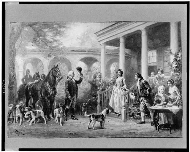 george washington with foxhounds painting