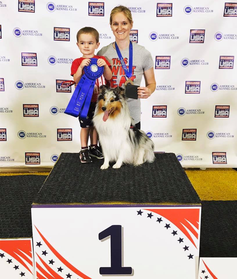 Jennifer Crank's son, Ethan, accompanies her to many of her agility competitions.