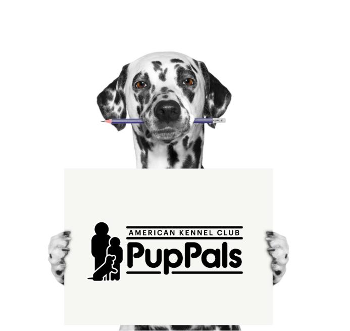 Dalmatian holding PupPals sign
