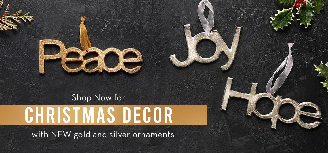 Shop now for Christmas Decor with New Gold and Silver ornaments!