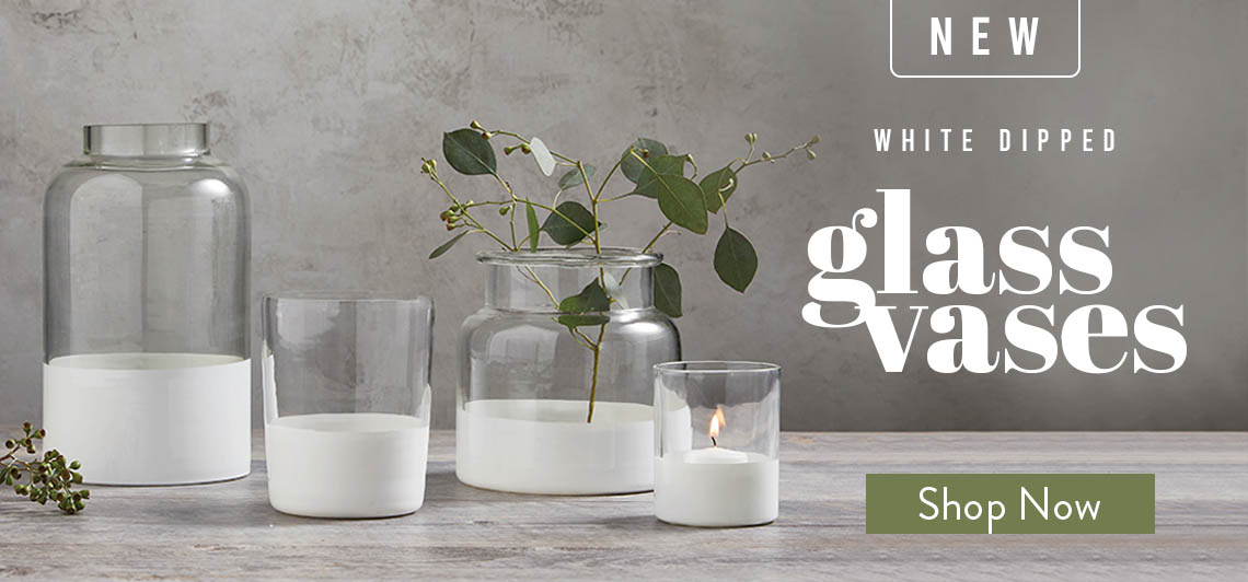 New simple white and glass vases, shop now!