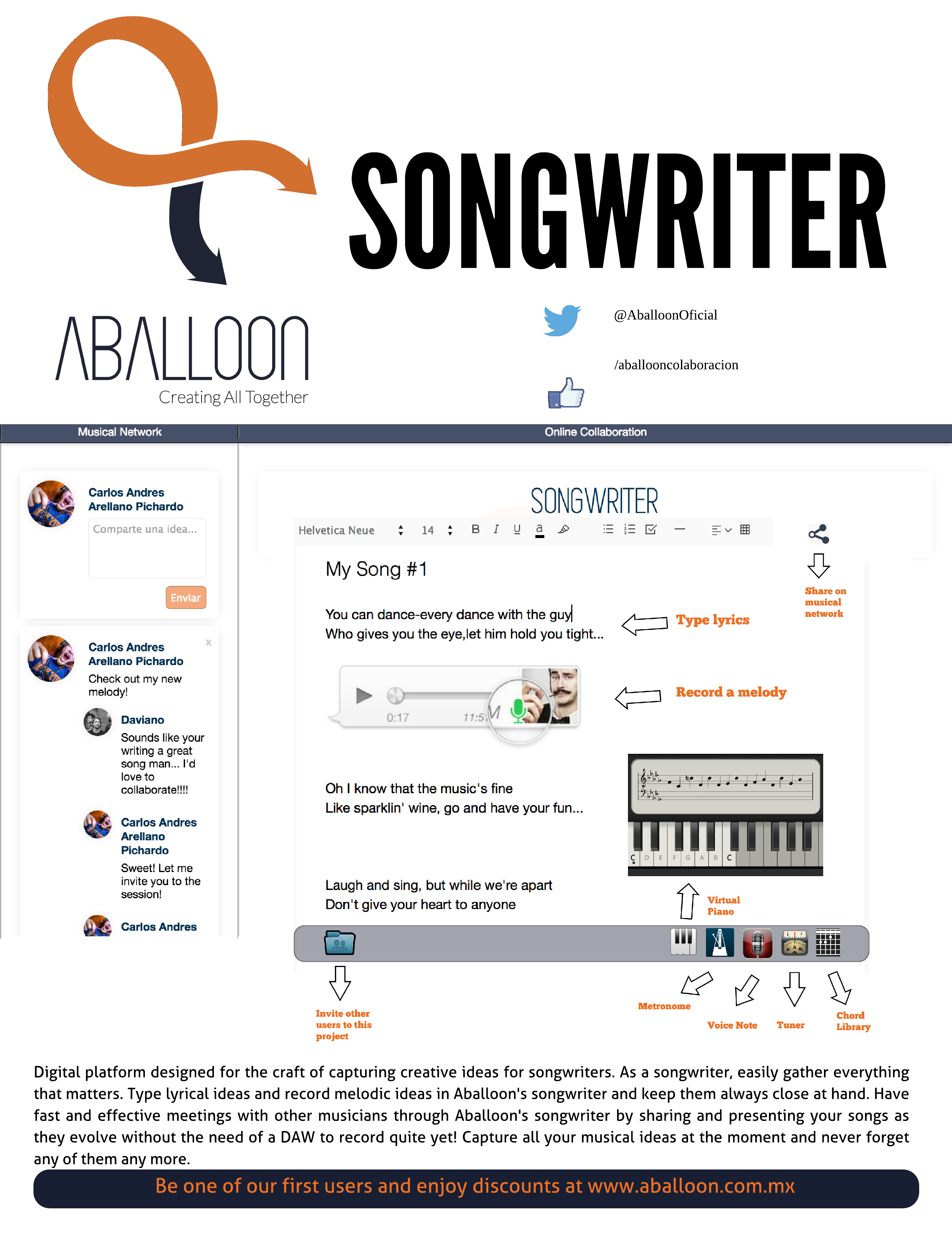 Aballoon Songwriter Flyer SXSW 2015