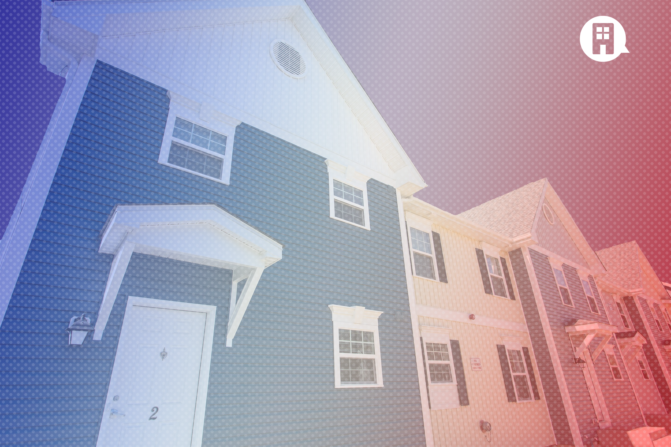 A stylized photograph of an affordable housing property.