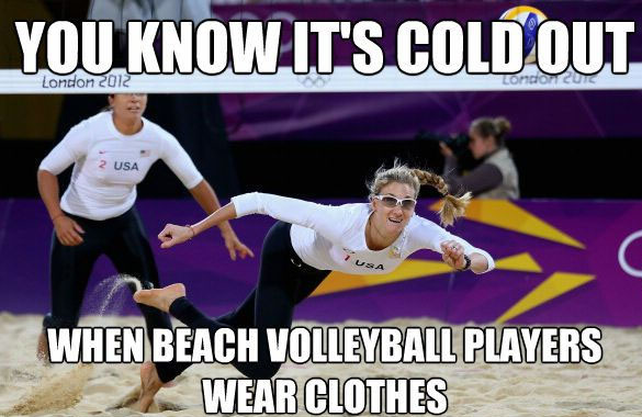 Beach Volleyball Wearing Clothes